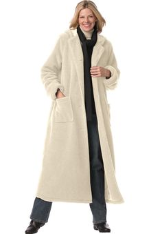 The reversible plus size Petite Hooded Berber Coat by Woman Within ...