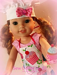 Little Dolly Chef Set for Wellie Wishers H4H and by SewDolledUp81 Little Dolly, American Girl Wellie Wishers, Wellie Wishers Dolls, Cute Princess, Ag Doll Clothes, Cat Doll, Handmade Clothes, Doll Patterns, Girl Dolls