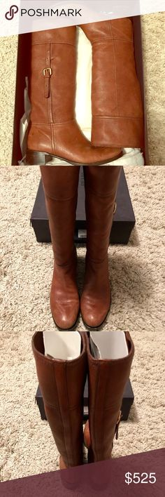 Prada leather boots Prada tall brown leather boots with gold buckle on side. In great condition and very soft leather Prada Shoes Over the Knee Boots