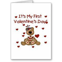 Boy Bear 1st Valentines Day Tshirts and Gifts Greeting Card - #teddy #bear #greeting #cards