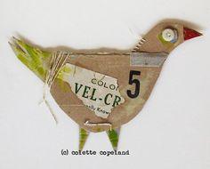 Cardboard art, 3D, one of a kind, folk art, bird: