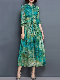 Shop Midi Dresses - Green A-line Floral Polyester Long Sleeve Midi Dress online…