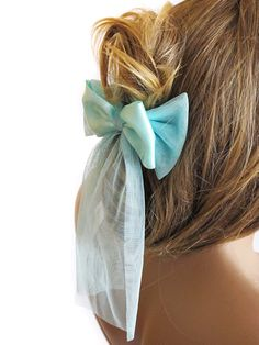 Hair Clip Ribbon Hair headband mint tulle  hair