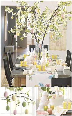 Easter Table Setting-like the branches with eggs
