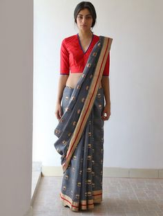 Violet Grey Golden Red Nanki Silk & Zari #Saree by Raw Mango. Available Online At Jaypore.com.