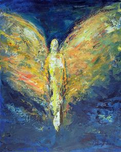 Angel Art Oil Original Abstract Painting Enduring Strength ANGEL Vision of Angels Series BenWill Modern Art Paintings, Landscape Paintings, Original Paintings, Angel Paintings, Oil Paintings, Angel Wings Painting, Angel Art, Black And White Painting, Acrylic Art