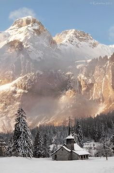 """Kandersteg, Switzerland-Could have pinned this to """"Old Churches"""" or """"Seasons"""" but the mountain trumped everything! Wow!!"""