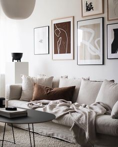 Swedish living room in soothing neutrals with linen sofa and gallery wall. - home/decor - - Swedish living room in soothing neutrals with linen sofa and gallery wall. Living Room Sofa, Living Room Decor, Sofa Design, Design Design, Style Deco, Linen Sofa, Swedish House, Scandinavian Home, Minimalist Home
