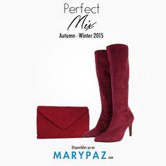 Solo una combinación bolso+zapato hace que un look sea 10  Consigue el ansiado Perfect Mix de la mano de MARYPAZ <3 <3 <3    BOLSO ► http://www.marypaz.com/tienda-online/bolso-tipo-sobre-con-cadena-49106.html?sku=73195-00     BOTA XXL ► http://www.marypaz.com/tienda-online/bota-ca-a-alta-tipo-panty-de-tacon-y-punta-fina-52986.html?sku=73034-35