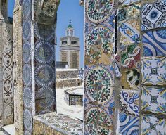 colorful tiles at the Grand Mosque of Tunis, Tunisia