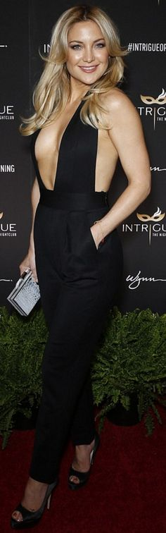 Who made Kate Hudson's clutch handbag, plunge jumpsuit, and...