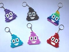 Emoji Poo Keyrings Hama Beads NEW Assorted 6 Pack Handmade uk