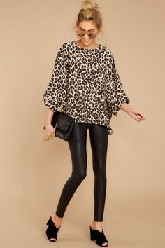 deb7fdba5c4f Chic Brown Leopard Print Blouse - Flowy Animal Print Top - Shirt - $42 – Red