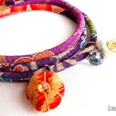 Kimono Bracelet, Necklace, Japanese jewelry, Exotic coral pink green red blue purple - HANA MORI -