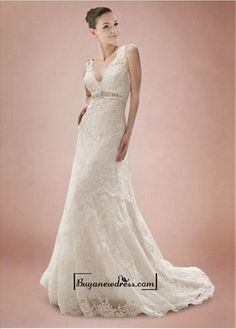 Alluring Tulle&Satin A-line V-neck Empire Waistline Wedding Dress