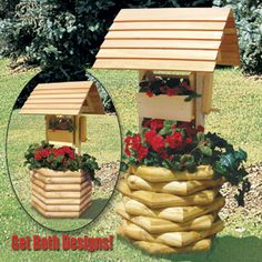 "Landscape Timber Wishing Well DIY Woodcraft Pattern #1931 - Make this beautiful wishing well planter with inexpensive landscape timber in one weekend! Plan includes both looks! Cherish forever. 59""H x 29""W x 29""D. Pattern by Sherwood Creations #woodworking #woodcrafts #pattern #yardart #crafts #landscape #planter #wishingwell"