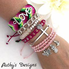 Friendship Bracelet.Handwoven Friendship Handmade set of 6 bracelet adjustable and elastic Gift.Best friend  Neon summer bracelet macrame by PathysDesigns on Etsy