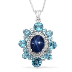 Liquidation Channel: Thai Blue Star Sapphire, Electric Blue Topaz, and Diamond Pendant with Chain (20 in) in Platinum Overlay Sterling Silver (Nickel Free)