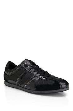 Hugo Boss Orange Label Suede and Leather 'Simbad II' Sneaker in Black