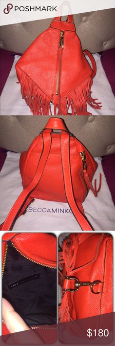 """Rebecca Minkoff Leather Fringe Mini Backpack NEW!! Adorable mini backpack from RM. Never been used. Front zip compartment with inside pocket, back side zip pocket, large back outer pocket. Adjustable straps. Comes with dust bag. No trades but open to offers.     7.5""""W x 9.5""""H x 4.5""""D Genuine leather 28"""" shoulder straps Custom light gold hardware Rebecca Minkoff Bags Backpacks"""