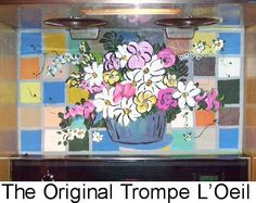Horse Ranch Main House:  When removal of a double oven stove left a blank spot in this vibrant fiesta style tile kitchen, I painted flowers in a vase and duplicated the fiesta style tile.