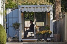 Need a backyard office or guest house? Try a cargo container Shipping Container Sheds, Shipping Container Buildings, Storage Container Homes, Cargo Container, Container Design, Shipping Containers, Container Gardening, Container Pool, Shipping Crates