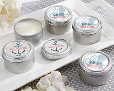 Personalized Travel Candle - Nautical Baby Shower - Candle Favors by Kate Aspen