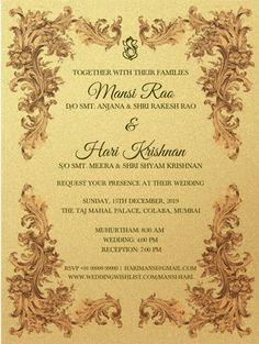 Wedding Wishlist offers beautiful online wedding invitations with Indian & contemporary designs. Click now to create a wedding invitation online in minutes. Indian Wedding Invitation Cards, Wedding Reception Invitations, Wedding Invitation Templates, Wedding Cards, Wedding Decor, Engagement Party Invitations, Wedding Vows, Wedding Venues, Wedding Ideas