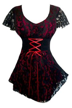 Sweetheart Lace Corset Top in Wine - Seductive black lace over bright colored stretch fabric. Freatures sexy sweetheart neckline, cinched in the middle. Corset lace-up under empire-waisted bodice. Hard-to-find tunic length. Available in plus size and Sexy Outfits, Gothic Outfits, Fashion Outfits, Vintage Stil, Vintage Mode, Gothic Fashion, Look Fashion, Steampunk Fashion, Red Lace Top
