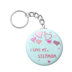 I Love my Stepmom - Cute Pink Lovehearts on Blue Keychain