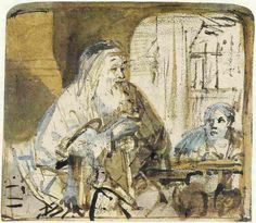 Rembrandt, Homer dictating to a scribe, ca. 1663