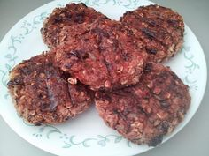 4 ingredient bean burgers!  2 cans (15oz) of Low Sodium Kidney Beans 1 cup of Rolled Oats 1 cup of cooked Brown Rice 1/4 Cup of Tomato Sauce 1/2 tsp Garlic Powder 1/2 tsp Onion Powder 1/2 tsp Mrs Dash