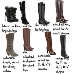 Stiletto heels with their long slim spindly shape are best for slimmer body shapes and those with slim calves and ankles. (see article)