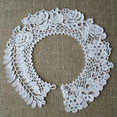 Pretty Image of Crochet Collar Pattern Crochet Art, Irish Crochet, Crochet Flowers, Crochet Stitches, Crochet Collar Pattern, Crochet Lace Collar, Lace Patterns, Crochet Patterns, Lace Necklace