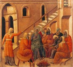 The Maesta (central panel, reverse:  Peter First Denying Christ) - Duccio.  1308-11.  Tempera on wood.  50 x 54 cm.  Museo dell'Opera del Duomo, Siena, Italy.
