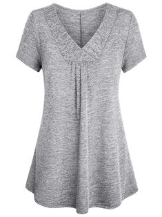 Baikea Women Grey Tunic Ladies Slouchy Tops Large V Neck Tunic Work SemiFormal Tops Swing Trendy Elegant Dressy Short Sleeve Latest Tunic Shirt For Office Trapeze Light Grey L >>> Read more at the image link. (This is an affiliate link) Tunic Shirt, Tunic Tops, Shirts For Leggings, Dressy Shorts, Pants For Women, T Shirts For Women, Fashion Sewing, Classy Dress, Mode Style