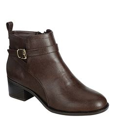Look what I found on #zulily! Breckelle's Brown Smooth Capital Ankle Boot by Breckelle's #zulilyfinds