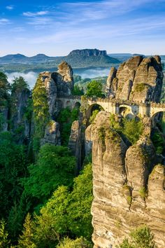 Bridge named Bastei in Saxon Switzerland, Germany. #Germany