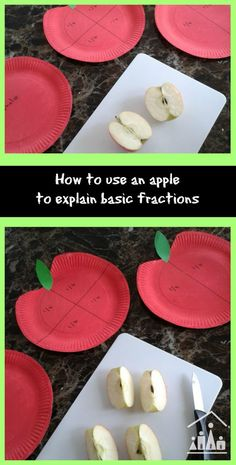 How to use an apple to explain basic fractions. This math learning activity is ideal for second grade children (7-8 years old).