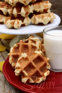 A Christmas tradition in our home, these French Cakes, aka Waffle Cookies, are so easy and delicious. Made in the waffle iron and devoured by the dozen. Yummy Treats, Delicious Desserts, Yummy Food, Tasty, Cookie Recipes, Dessert Recipes, Breakfast Recipes, Waffle Bar, Waffle Iron