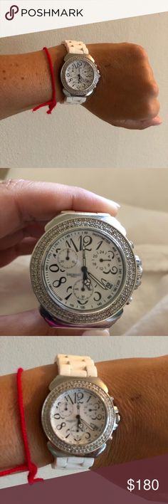 Lancaster Watch Lancaster Watch with white rubber band. Watch needs a battery. It has not been worn in years. Lancaster Other Shop My, Watches, Band, Womens Fashion, Silver, Closet, Accessories, Sash, Armoire