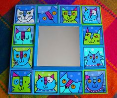 Espejo Gatos Turquesa