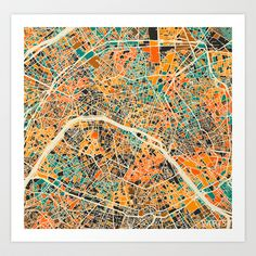 Paris mosaic map #2 Art Print by Map Map Maps - $18.00