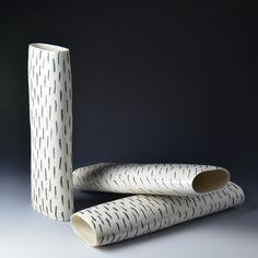 Wheel thrown vessels, black oxide lines on porcelain, Katharina Klug