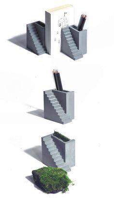 Concrete Bookends Pen Holder Desk Organizer