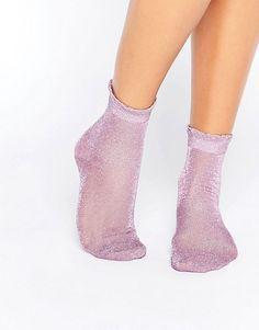 Monki | Monki Sheer Glitter Frill Sock