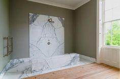 Bathroom by Ilse Crawford White Marble Bathrooms, Marble Showers, Beige Bathroom, Bathroom Shower Curtains, Bathroom Interior Design, Arch Interior, Bathroom Designs, Bathroom Ideas, Light Fixtures Bathroom Vanity