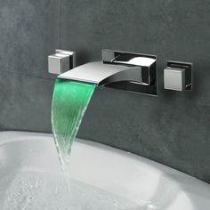 Dual handle Bathroom Basin Brass Sink Waterfall Chrome Finish Mixer Tap Faucet