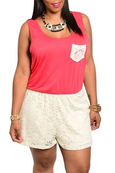 DHStyles Women's Coral Ivory Plus Size Sexy Sheer Lace Knit Shorts Romper #sexytops #clubclothes #sexydresses #fashionablesexydress #sexyshirts #sexyclothes #cocktaildresses #clubwear #cheapsexydresses #clubdresses #cheaptops #partytops #partydress #haltertops #cocktaildresses #partydresses #minidress #nightclubclothes #hotfashion #juniorsclothing #cocktaildress #glamclothing #sexytop #womensclothes #clubbingclothes #juniorsclothes #juniorclothes #trendyclothing #minidresses #sexyclothing…