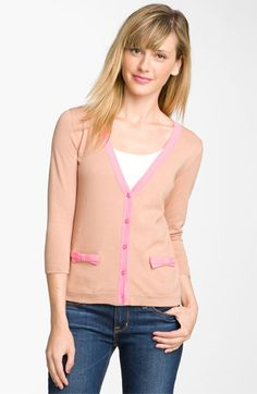 I got this one in black, and the tan and cream colors, they are definately very cute when you see them in person. Frenchi® Bow Pocket Cardigan (Juniors) available at #Nordstrom